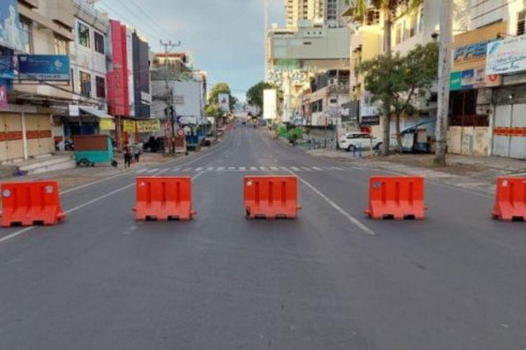 Penyekatan di jalan protokol di Bandar Lampung
