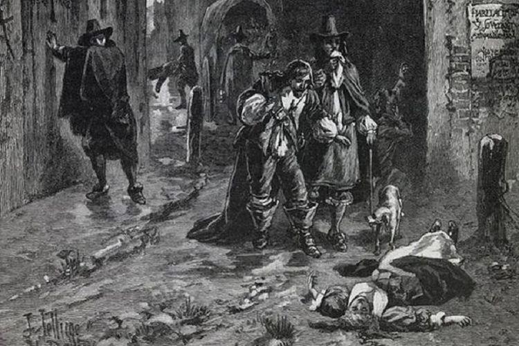 Ilustrasi ketika wabah pes melanda Kota London pada 1664.