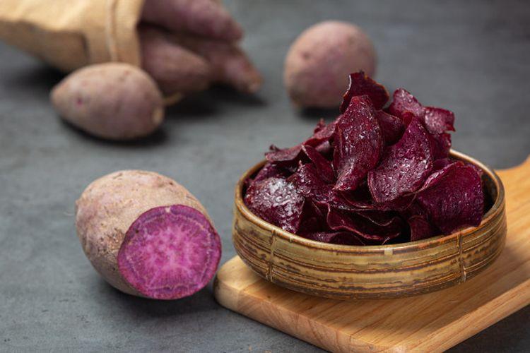 Ilustrasi ubi ungu. Ubi ungu adalah ubi jalar yang mengandung beta karoten yang memiliki manfaat sebagai antioksidan.