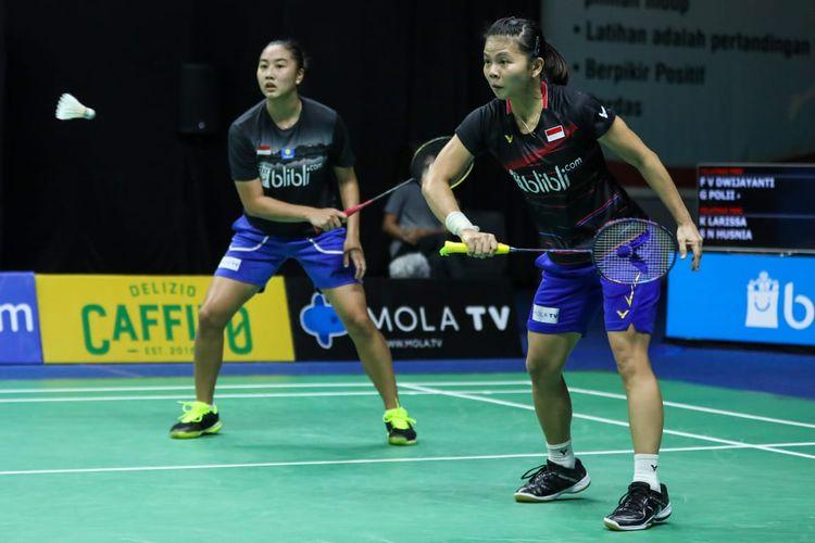 Aksi Greysia Polii/Febby Valencia Dwijayanti Gani pada ajang PBSI Home Tournament di Hall Pelatnas PBSI Cipayung, Jakarta Timur, Rabu (15/7/2020) pagi WIB.