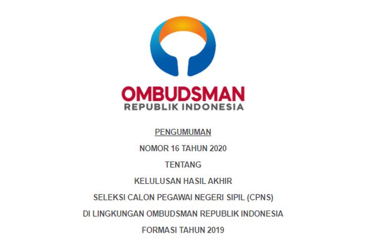 Tangkapan layar pengumuman kelulusan hasil akhir seleksi CPNS Ombudsman formasi tahun 2019.