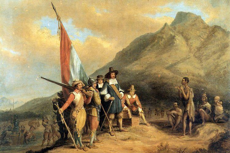 Lukisan kedatangan perwakilan VOC, Jan van Riebeeck, di Cape Town, Afrika Selatan.
