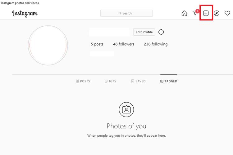 Tampilan fitur baru Instagram yang memungkinkan pengguna unggah foto atau video via PC.