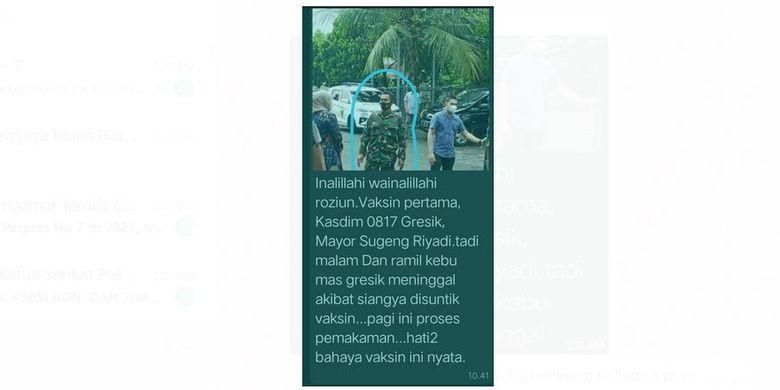 Tangkapan layar pesan di WhatsApp yang meyebut salah satu anggota TNI di Gresik meninggal setelah menerima vaksin Covid-19
