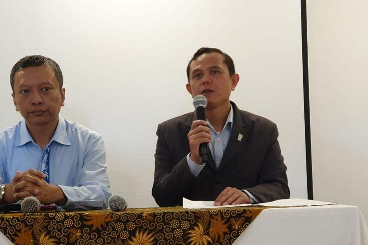 Manager Hotel Des Indes, Darmaharto, memberi keterangan kepada pers di Menteng, Jakarta Pusat, Selasa (3/3/2020). Restoran Paloma berada di bawah naungan Hotel Des Indes.