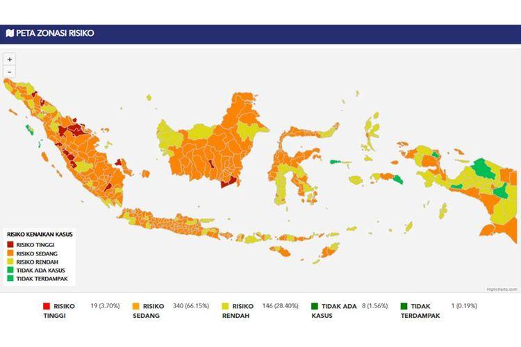 Zona merah Indonesia per 25 April 2021.