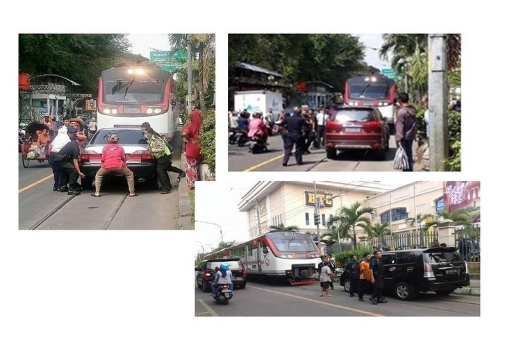 Mobil yang parkir di tengah rel aktif Jalan Mayor Sunaryo, Kota Solo, menghalangi kereta Bathara Kresna yang akan melintas.