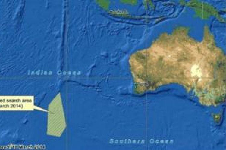 Lokasi ditemukannya obyek yang diduga puing pesawat Malaysia Airlines di selatan Samudra Hindia