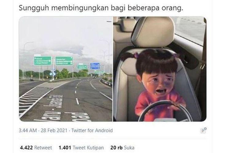 Twit yang membagikan soal jalan tol Surabaya yang disebut ruwet.