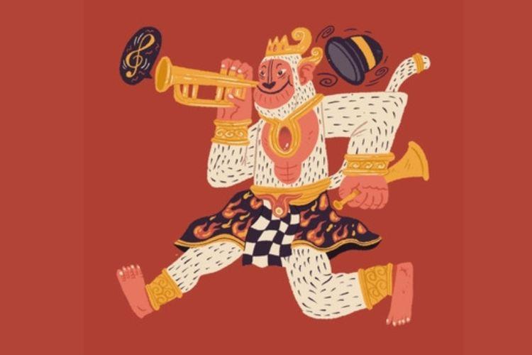 Hanoman meniup terompet menandai dimulainya kegembiraan. Artwork oleh Wulang Sunu.