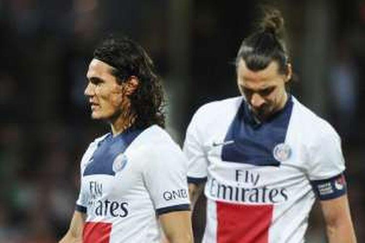 Edinson Cavani dan Zlatan Ibrahimovic saat tampil dalam sebuah pertandingan Ligue 1.