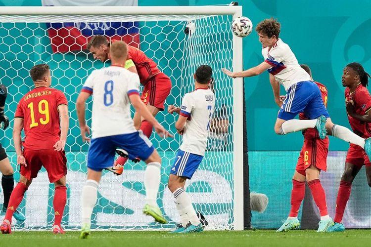 Pertandingan Belgia vs Rusia pada Euro 2020 di Stadion Saint Petersburg, Rusia, Minggu (13/6/2021) dini hari WIB.