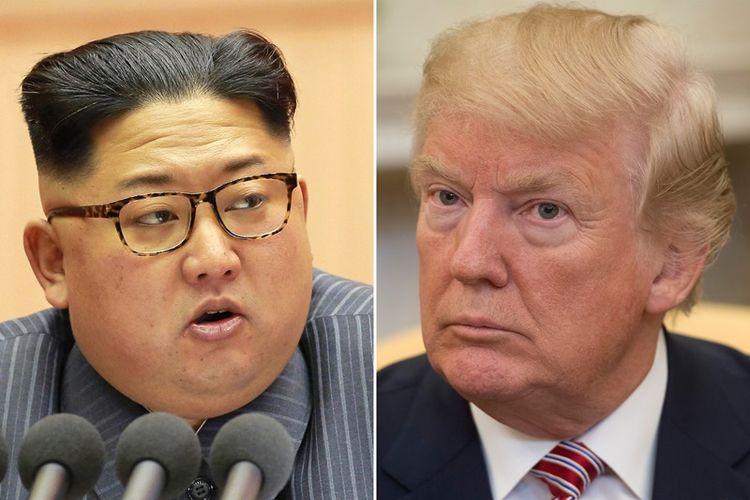 Pemimpin Korea Utara Kim Jong Un, dan Presiden Amerika Serikat Donald Trump.