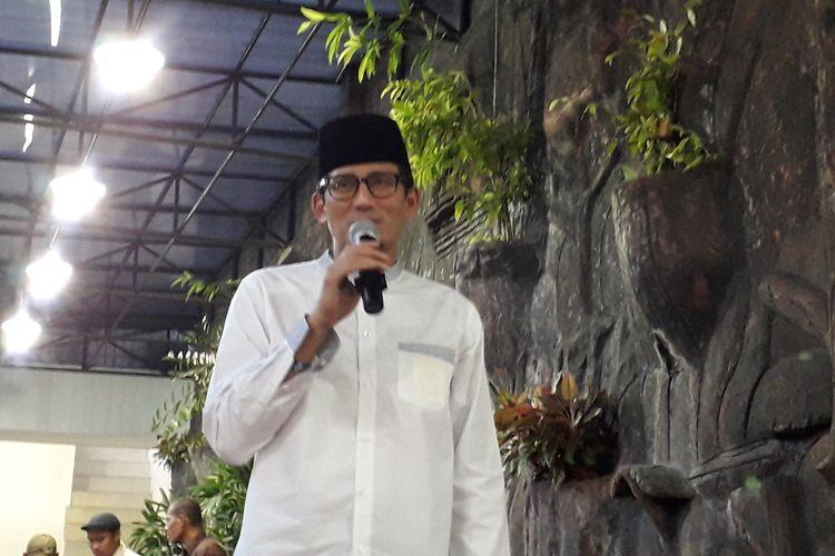 Calon Wakil Presiden Sandiaga Uno Nomor Urut 02 saat hadiri buka bersama Partai Gerindra dan Pemuda Pancasila Jakarta Barat pada Jumat (24/05/2019).