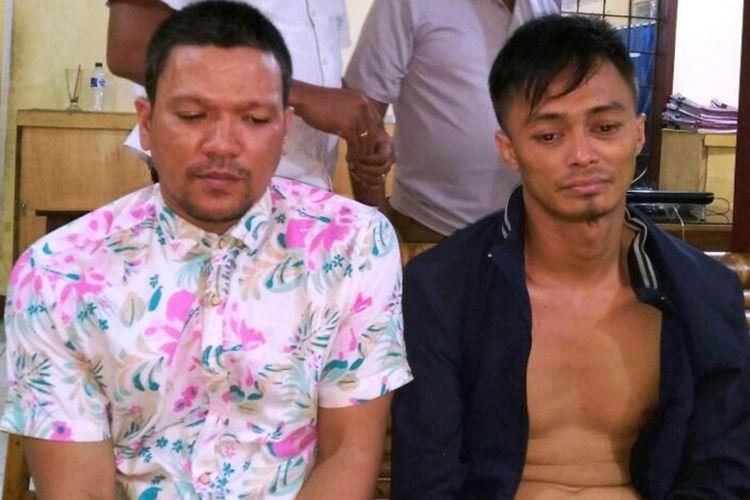 Dua pelaku yang tertangkap tangan sedang membeli rokok menggunakan uang pecahan Rp 100.000 palsu, Jumat (11/8/2017)