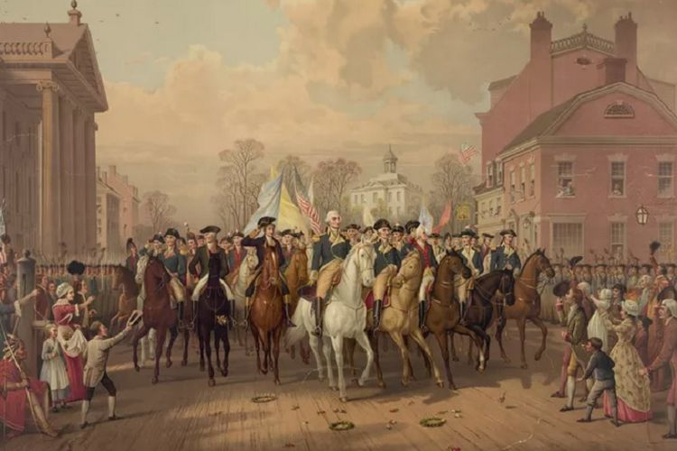 Setelah parade pada Evacuation Day, George Washington menjadi pelanggan toko Hercules Mulligan.  (Education Images/UIG via Thoughts Co)