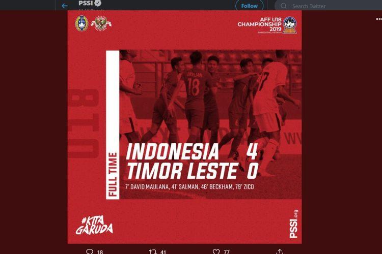 Timnas U-18 Indonesia menang 4-0 atas Timor Leste saat menjalani matchday kedua Piala AFF U-18 2019 di Stadion Binh Duong, Vitenam, Kamis (8/8/2019).
