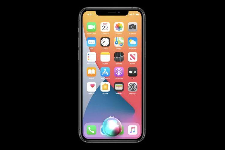 Tampilan antarmuka Siri di iOS 14.