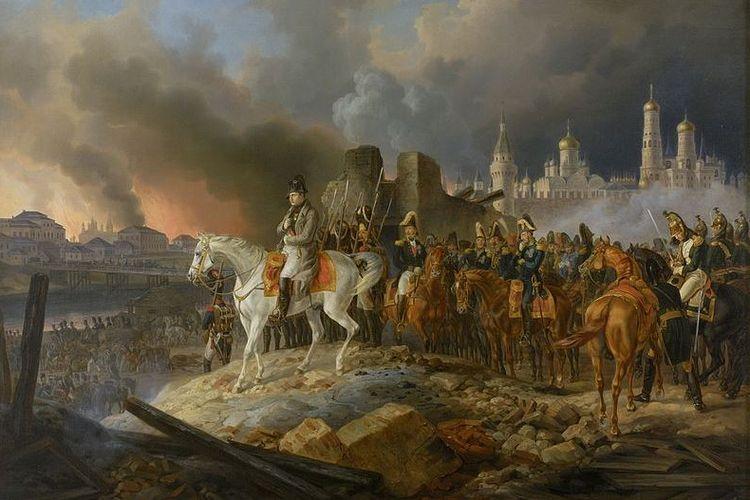Dalam lukisan karya Adam Albrecht (1841) ini memperlihatkan Napoleon Bonaparte dan pasukannya menyaksikan kota Moskwa yang dibakar.