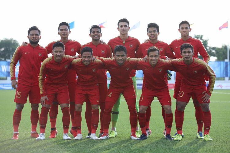 Skuad timnas u23 Indonesia dalam laga kontra Laos di ajang SEA Games 2019 di Stadion Imus, Kamis (5/12/2019).