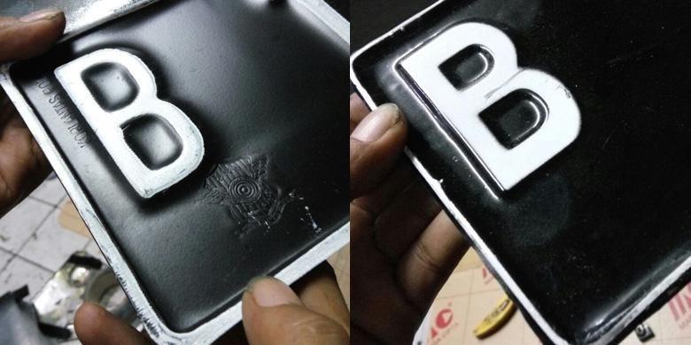 Beda pelat nomor asli (kiri) dan palsu (kanan)