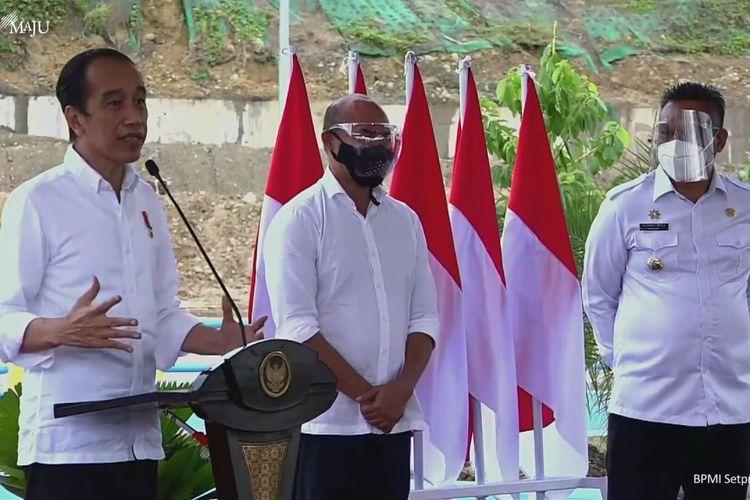 Foto tangkapan layar Presiden Joko Widodo meresmikan Bendungan Napun Gette di Kabupaten Sikka, Nusa Tenggara Timur (NTT), Selasa (23/2/2021).