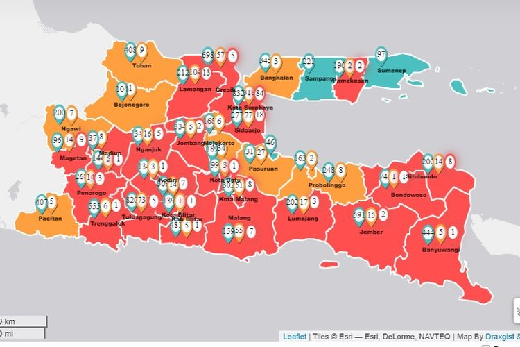 Persebaran virus corona di Jawa Timur meluas. Gubernur Jawa Timur Khofifah Indar Parawansa mengumumkan hari Senin (6/4/2020), Kabupaten Trenggalek masuk ke dalam zona merah bersama 23 kabupaten/kota lainnya.