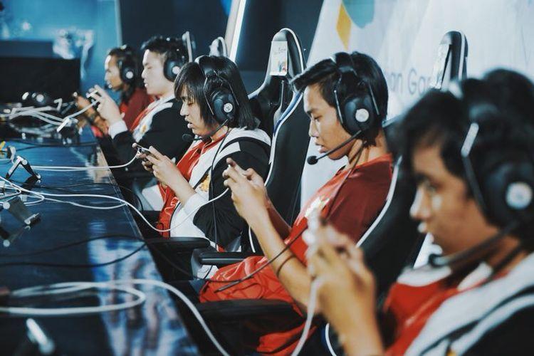 Timnas Indonesia saat bertanding game AOV di Asian Games 2018