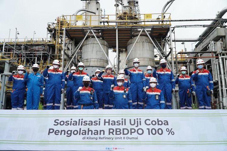 Tim pengolahan RBDPO di Kilang Refinery Unit ll Dumai (Dok. Pertamina)