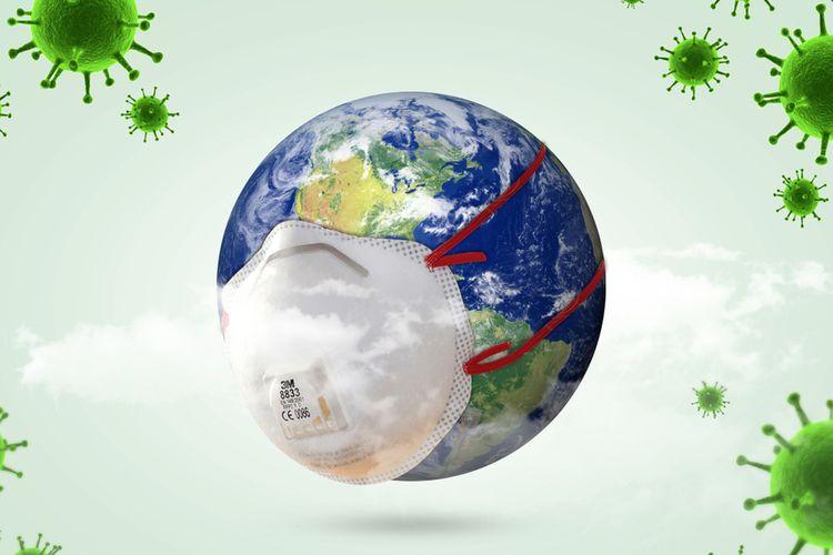 Ilustrasi virus corona (Covid-19) global