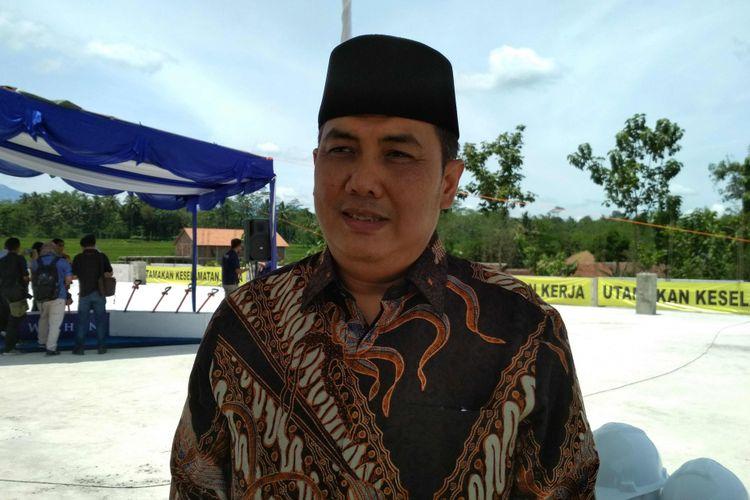 Sekretaris Jenderal PBNU Helmy Faishal Zaini usai kegiatan topping-off RSU Syubbanul Wathon di Kabupaten Magelang, Jawa Tengah, Selasa (20/3/2018).