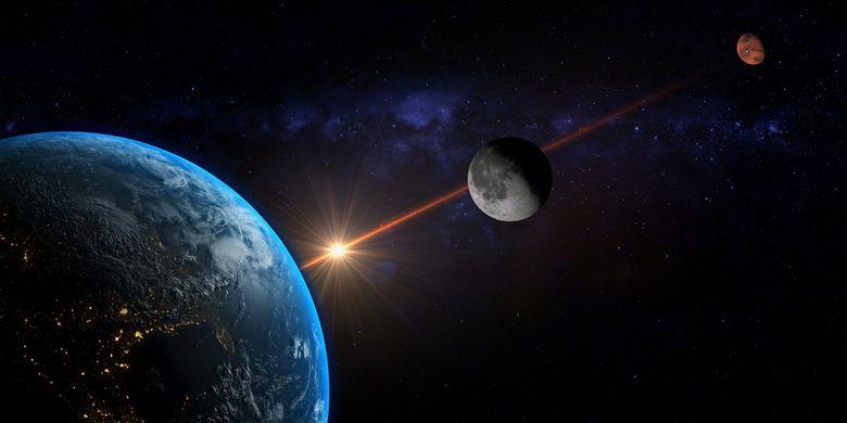 Ilustración de la conjunción de la Luna y Marte