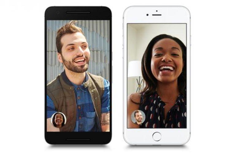 Antarmuka Google Duo di Android dan iOS.