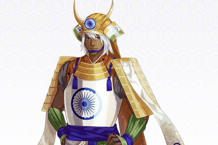 India yang digambarkan dalam karakter samurai oleh para seniman di Jepang dalam meramaikan Olimpiade Tokyo.