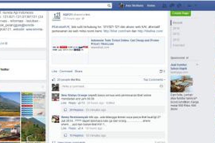 Screenshot laman Facebook PT KAI.