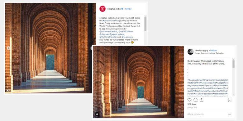 Ki-Ka: Perbandingan foto pemenang kompetisi OnePlus (kiri) dan foto asli milik Aman Bhargava (kanan)