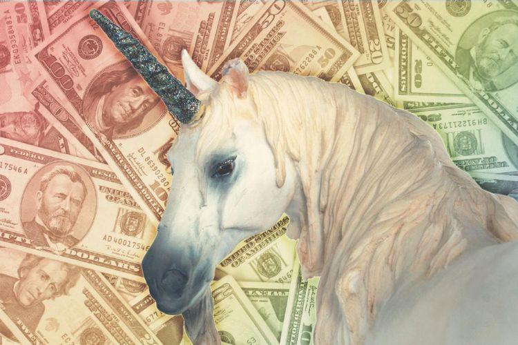 Ilustrasi Unicorn di industri startup.