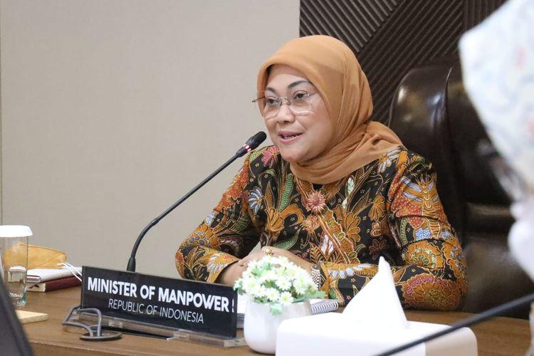 Menaker Ida Fauziyah saat melakukan pertemuan secara daring dengan wakil otoritas Taiwan, yakni Kepala Kantor Taipei Economic and Trade Office in Jakarta (TETO Jakarta) Jon C.Chen, Kamis (18/3/2021).