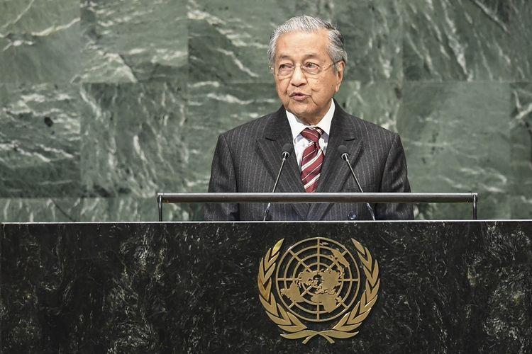 Perdana Menteri Malaysia Mahathir Mohamad ketika berpidato dalam Sidang Umum ke-73 PBB di New York Jumat (28/9/2018).