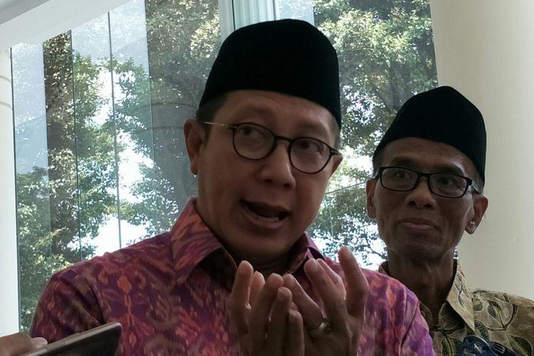Menteri Agama RI Lukman Hakim Saifuddin ketika ditemui di Kantor Wakil Presiden RI, Jakarta, Senin (30/4/2018).