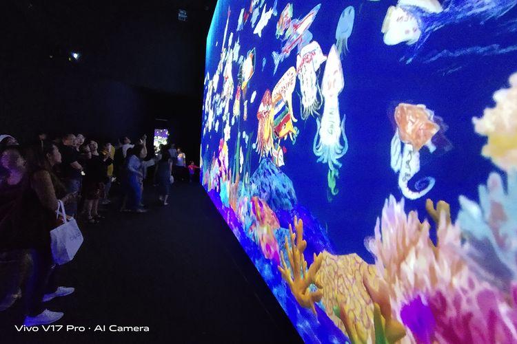 Sketch Aquarium yang memajang coretan para pengunjung dalam bentuk animasi.