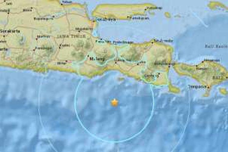 Pusat gempa bumi berkekuatan 6,2 SR di pantai selatan Jawa Timur, Rabu (16/11/2016) malam.