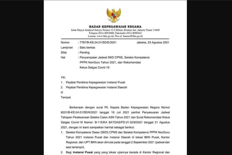 Tangkapan layar jadwal CPNS 2021