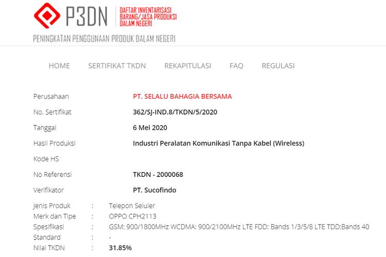 Tangkapan layar sertifikasi Oppo Reno4 di situs TKDN Kemenperin.