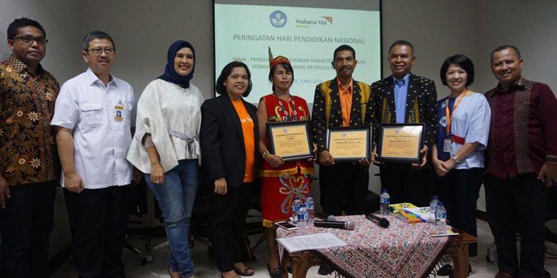 Para pembicara seminar Penguatan Pendidikan Karakter Kontekstual sebagai Modal Awal untuk Revolusi Mental menyambut Hardiknas di Gedung Kemendikbud, Jakarta (3/5/2018).