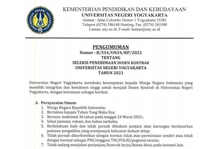 Lowongan kerja sebagai dosen kontrak di Universitas Negeri Yogyakarta (UNY).