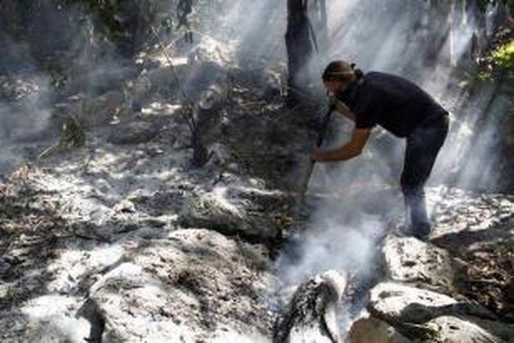 Turis asal Amerika Serikat, Richie ikut membantu memadamkan api yang membakar lahan di Pulau Bangka, Minahasa Utara, Sulawesi Utara, Sabtu (12/9/2015). Sekitar 2000 hektar hutan adat dan perkebunan warga terbakar dalam kebakaran yang sudah terjadi selama sepekan.
