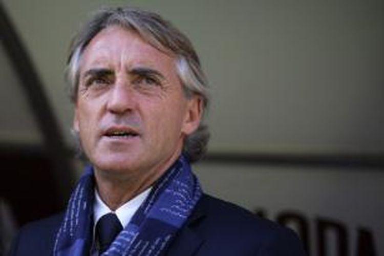 Salah satu ekspresi pelatih Inter Milan, Roberto Mancini, pada laga kontra Torino di Stadion Olimpico, Turin, 8 November 2015.