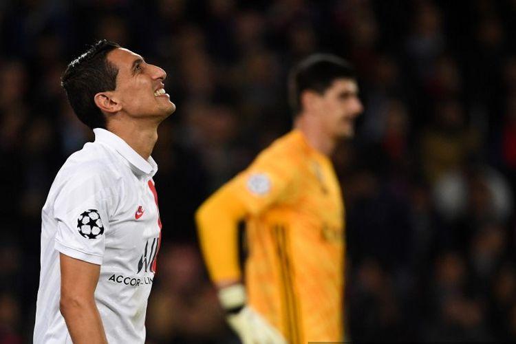 Angel Di Maria seusai berusaha menjebol gawang Thibaut Courtois pada laga PSG vs Real Madrid dalam matchday 1 Liga Champions di Parc des Princes, 18 September 2019.