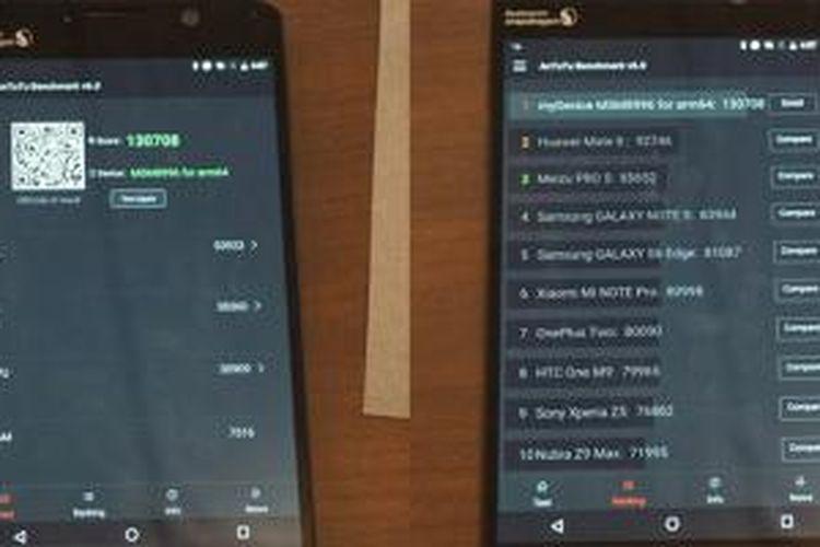 Hasil uji handset purwarupa Snapdragon 820 dengan aplikasi benchmark AnTuTu di Bejing, China